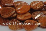 CAG674 15.5 inch 15*20mm faceted teardrop twisted natural fire agate beads