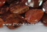 CAG675 15.5 inch 18*25mm faceted teardrop twisted natural fire agate beads