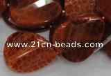 CAG676 15.5 inch 23*30mm faceted teardrop twisted natural fire agate beads
