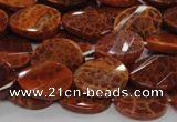 CAG677 15.5 inches 13*18mm twisted oval natural fire agate beads