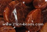 CAG678 15.5 inches 18*25mm twisted oval natural fire agate beads