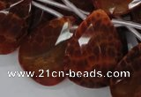 CAG680 15.5 inches 22*30mm faceted teardrop natural fire agate beads