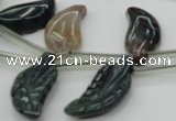 CAG6845 Top drilled 10*20mm carved leaf Indian agate beads