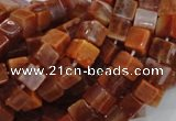 CAG686 15.5 inches 6*6mm cube natural fire agate beads wholesale