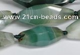 CAG6912 15.5 inches 13*35mm - 15*45mm faceted rice line agate beads