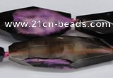 CAG6915 15.5 inches 18*65mm faceted rice line agate beads