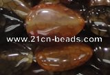 CAG695 15.5 inches 25*32mm flat teardrop dragon veins agate beads