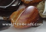 CAG696 15.5 inches 22*32mm twisted freeform dragon veins agate beads