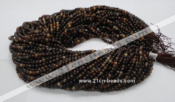 CAG701 15.5 inches 4mm round dragon veins agate beads wholesale