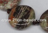 CAG7047 15.5 inches 25mm flat round ocean agate gemstone beads