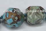 CAG7068 15.5 inches 18*22mm faceted nuggets ocean agate beads