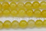CAG7109 15.5 inches 8mm round yellow agate gemstone beads
