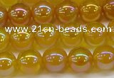 CAG7123 15.5 inches 10mm round AB-color yellow agate gemstone beads