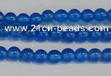 CAG7158 15.5 inches 4mm round blue agate gemstone beads