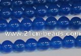 CAG7159 15.5 inches 6mm round blue agate gemstone beads