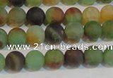 CAG7167 15.5 inches 6mm round matte rainbow agate gemstone beads