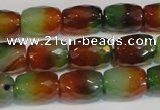CAG7178 15.5 inches 8*12mm faceted drum rainbow agate gemstone beads