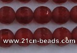 CAG7458 15.5 inches 10mm faceted round matte red agate beads
