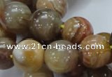 CAG767 15.5 inches 16mm round yellow agate gemstone beads wholesale