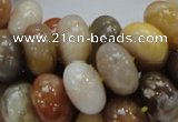 CAG770 15.5 inches 10*16mm rondelle yellow agate gemstone beads