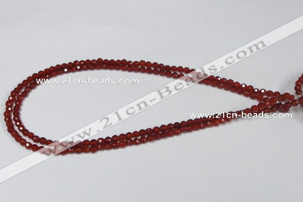 CAG7862 15.5 inches 5mm faceted round red agate beads wholesale