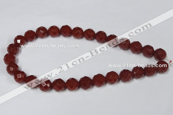 CAG7865 15.5 inches 20mm faceted round red agate beads wholesale
