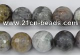 CAG7871 15.5 inches 16mm faceted round silver needle agate beads