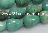 CAG7880 15.5 inches 15*20mm faceted teardrop grass agate beads