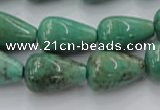 CAG7899 15.5 inches 13*18mm teardrop grass agate beads wholesale