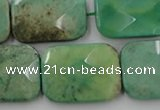 CAG7926 15.5 inches 18*25mm faceted rectangle grass agate beads