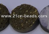 CAG7940 7.5 inches 30mm flat round plated white druzy agate beads