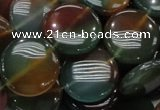 CAG802 15.5 inches 20mm flat round rainbow agate gemstone beads