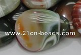 CAG809 15.5 inches 30*40mm flat teardrop rainbow agate gemstone beads