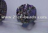 CAG8144 Top drilled 30*40mm teardrop rainbow plated druzy agate beads