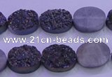CAG8165 7.5 inches 12*16mm oval purple plated druzy agate beads