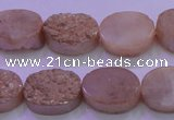 CAG8171 7.5 inches 13*18mm oval champagne plated druzy agate beads