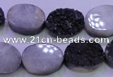 CAG8187 7.5 inches 15*20mm oval black plated druzy agate beads