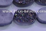CAG8204 7.5 inches 20*30mm oval rainbow plated druzy agate beads