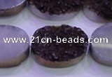 CAG8205 7.5 inches 20*30mm oval purple plated druzy agate beads