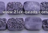 CAG8242 Top drilled 15*20mm rectangle silver plated druzy agate beads