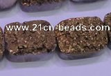 CAG8253 Top drilled 18*25mm rectangle glod plated druzy agate beads