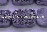 CAG8262 Top drilled 20*30mm rectangle silver plated druzy agate beads