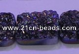 CAG8264 Top drilled 20*30mm rectangle rainbow plated druzy agate beads