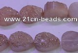 CAG8281 7.5 inches 12*16mm teardrop champagne plated druzy agate beads