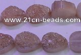 CAG8301 7.5 inches 15*20mm teardrop champagne plated druzy agate beads
