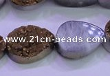 CAG8313 7.5 inches 18*25mm teardrop gold plated druzy agate beads