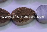 CAG8323 7.5 inches 20*30mm teardrop gold plated druzy agate beads