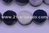 CAG8376 7.5 inches 18mm coin blue plated druzy agate beads