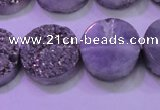 CAG8382 7.5 inches 20mm coin silver plated druzy agate beads