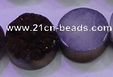 CAG8395 7.5 inches 25mm coin purple plated druzy agate beads